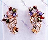 Fashion Cubic zirconia 18KT yellow gold filled stunds Earrings for gift Zircon earrings