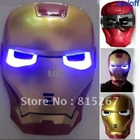 EMS Free shipping 10 Pcs Lot Iron Man Mask LED Light Up Movie Guy Mask Hot Halloween Cosplay Toy Avengers