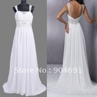 A-line White Chiffon Prom Dress High Quality Cap Sleeve Wedding Dresses Floor Length Wedding Gown Bridal Dress Sz 4 6 8 1012 14+