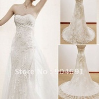 White Lace Prom Dress High Quality Strapless Mermaid Wedding Dress Floor Length Wedding Gown Layered Bridal Dress Sz4 6 8 1012+