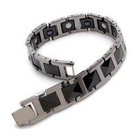 "Black & Silver Tungsten Magnetic Hematite Mens Bracelet 8"" B386"