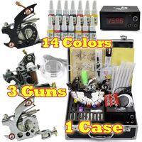3 Guns Professional Tattoo Machine Kit 14 Colors 5ml Inks Power 20pcs needles  Tattoos Equipment set Supply  Free Shipping