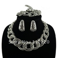 Free shipping! African costume jewelry jewellery set with platinum plated hollow out circles chain