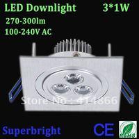 led downlight 3*1W Epistar chip led recessed light 600lm white high brightness100-240V AC led indoor lamp  free shipping