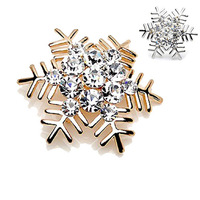 Christmas gifts Crystal Silent night Snowflake brooch pin Free shipping Wholesale Fashion Christmas jewelry