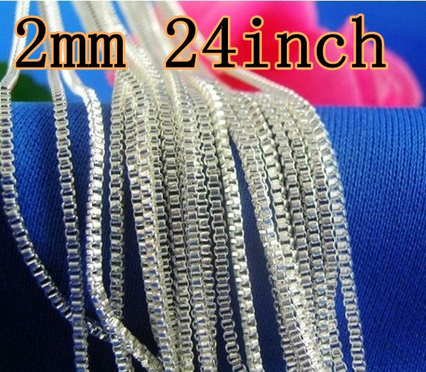 For XMAS Gift Wholesale 10PCS 925 Sterling Silver 2mm Box Chain Necklace 24inch Fashion Jewelry High Quality Factory Prices(China (Mainland))