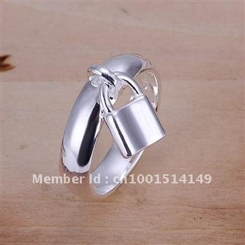 Fashion 2012 selling Christmas gifts 925 silver rings, a sign of the high quality 925 sterling silver hanging lock Ring(China (Mainland))