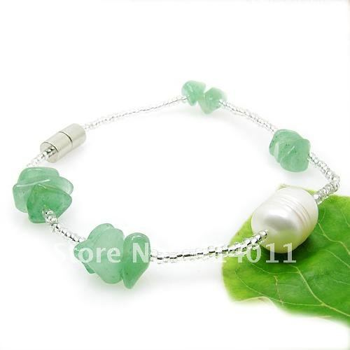 Fashion style Numerous 100% natural freshwater pearl bracelets bangles 7-8mm Jade jewelry Wholesale(China (Mainland))