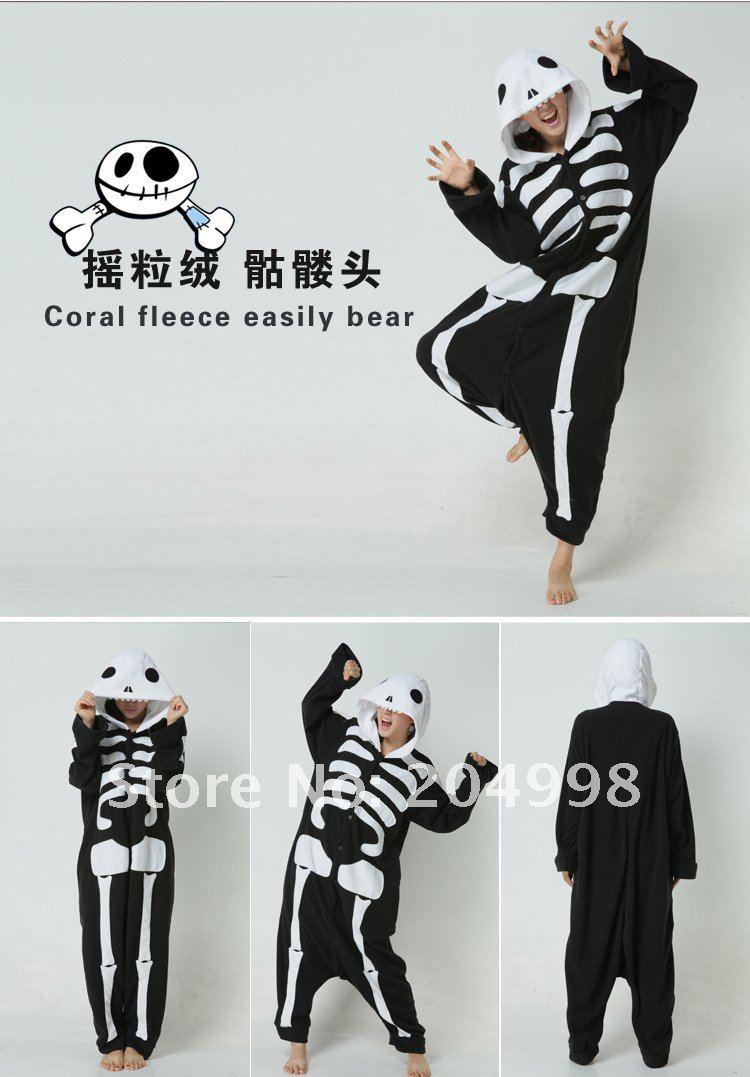 Free Shipping font b Adult b font Unisex Fleece Skull Sleepwear One Piece font b Pajamas Doraemon Animal Costume Kigurumi Pajamas Adult Cosplay Sleepwear