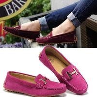Women's shoes gommini loafers female genuine leather scrub flat heel single flat fashion casual, free shipping