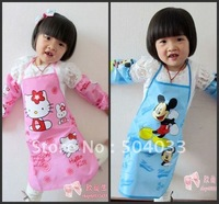 Wholesale childer Hello Kitty double waterproof aprons+waterproof cuff,multi cartoon images,Kid Bright colors aprons+cuff 10/lot