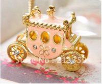 Free Shipping! Fashion charm beautiful fairy light pink rhinestone pumpkin car necklace