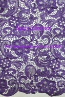 Free shipping!!! French lace,chemical lace,nice new design lace fabric BCL6028 PURPLE