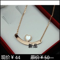 Fashion heart shell 14k rose gold love necklace titanium Women necklace