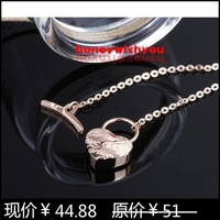 14k rose gold heart t buckle necklace Women gift fashion color gold necklace titanium colnmnaris