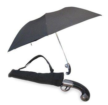 1PC Newest Creative Cool Mini Atlantic Gun Handle Black Folding Umbrella Auto Release waterproof  High Quality Free Shipping
