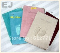 Europe and the United States quality, summer travel dermal passport this, passport holder, embroidered footprints printed