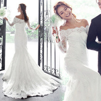 2014 New Fashion Lady White Lace Three Quarter Sleeve Floor Length Sabrina Mermaid Train Wedding Dresses Bridal Gown Dress