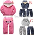 retail children clothing set 2 pcs sport suits boy's girl's warm Hooded Sweater coat + pants Leggings whole suits outfits