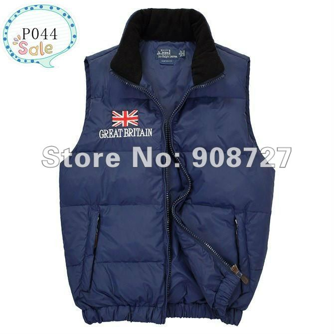 Hot sale Free shipping-New Arrival 2012 Mens POLO down vest, 5 color Great britain flag down vest for men P044 Size M LXL XXL(China (Mainland))