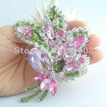 Pretty Leaf Flower Brooch Pin w Pink & Green Rhinestone Crystals EE04037C10