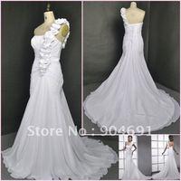 White Bridal Dress A-line Chiffon Wedding Dress One Shoulder Wedding Gown Beach Bridal Dress Stock Custom Sz 2-6 8 10 12 14 16+