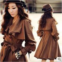 Free ship fashion 2012 women's autumn medium-long slim casual outerwear,beautifull Robe sleeve bow belt button uk long coat