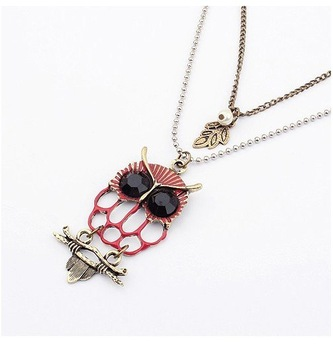 Korean boutique retro exaggerated when singular owl double sweater chain
