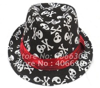 Adult unisex skull fedora Hat & Cap, stylish & classic hat, trilby hat, 10pcs/lot, Free Shipping by China post