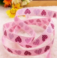 Free shipping Pink color 3/8'' (9mm) heart printed ribbon Polyester Grosgrain Ribbon DIY hairbows accessories Kids gift package