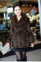 Free Shipping  fashion Genuine Rabbit Fur Coat with Big Fox Collar cute winter women's clothing/Hot sale/WholeSale/Retail