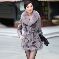 Fur coat 2012 fox fur sheepskin genuine leather slim medium-long female