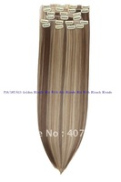 synthetic hair clip in 18 20 22 24 inch blonde P16/18T/613 Golden Blonde Mix With Ash Blonde Mix With Bleach Blonde10pcs170g set