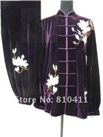 Customized Golden velvet embroidery magnolia flower Taiji clothes exercise clothes women in autumn and winter,free shipping