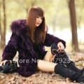 Retail Fur coat 2012. Rex rabbit hair long, Hooded Coat