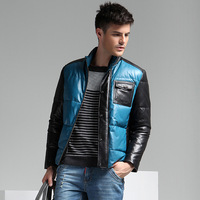 2013 new arrival quality sheepskin fashion down leather clothing men's clothing genuine leather clothing male slim outerwear