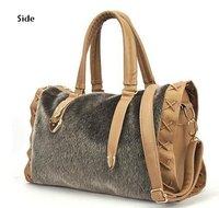 2014 new Korean fashion plush package imitation mink hair Boston bag mobile Messenger bag retro handbags Free shipping
