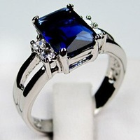 2014 new style Jewellery New sapphire 14KT white Gold-plated Ring size8/9 Zircon ring women rings