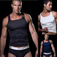 Modal Men Tank top Tight Slim Fit Gym sport Top clothes for men black/white/Navy 2pcs/lot Size S M L Free shipping