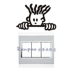 Ranpoo wall stickers - wall stickers socket paste switch stickers broom head free shipping(China (Mainland))