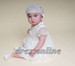 Custom Made Short Sleeves Lovely First Communion Christening Gowns With Hat Baptism Dress for Baby(China (Mainland))