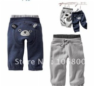Free Shipping NO FUR 5pcs/lot 90-130cm Boys Long Pants Lonsleeve Bear Costume Pants Grey & Blue Color 2012 Autumn