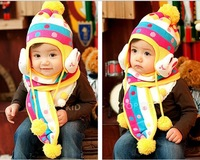 Retail lovely rabbit baby caps(hat + scarf) twinset baby ear protector caps Free shipping