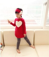 Supply of children's clothing 2012 new Korean models fall love cotton girls three-piece infant wear 5pcs/lot