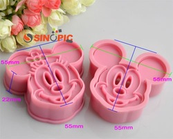 cake tools,1 set 2pcs Minnie &amp; Mickey cookie cutter Fondant Cake sugarcraft crafts mold bakeware.10 sets/lot,free shipping.(China (Mainland))