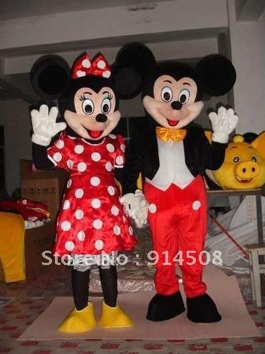 Adulto Mickey Mouse e Minnie traje da mascote dos desenhos animados de Halloween trajes do vestido extravagante carnaval brinquedo animal de pelúcia grátis frete Z782(China (Mainland))