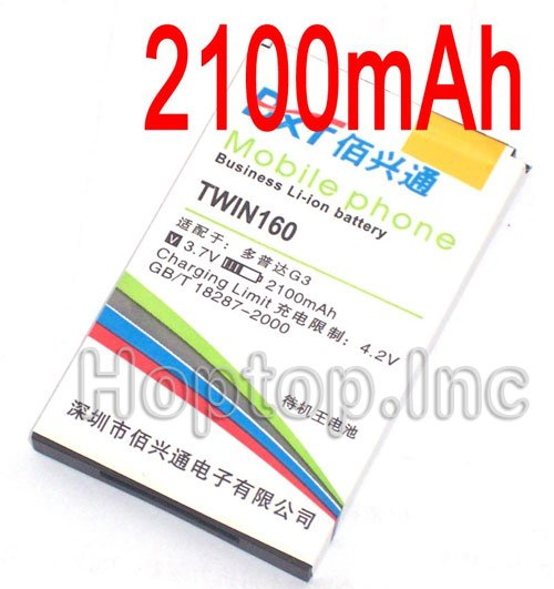 Replacement Battery HTC Google G3 Hero A6262 T5399 CELL PHONE 2100mAh Twin160(China (Mainland))