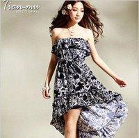 Dresses Promotion Empire Chiffon Mid-calf Plus Size Summer Dress 2014 Free Shipping New Fashion Bohemia Beach Women Good Quality