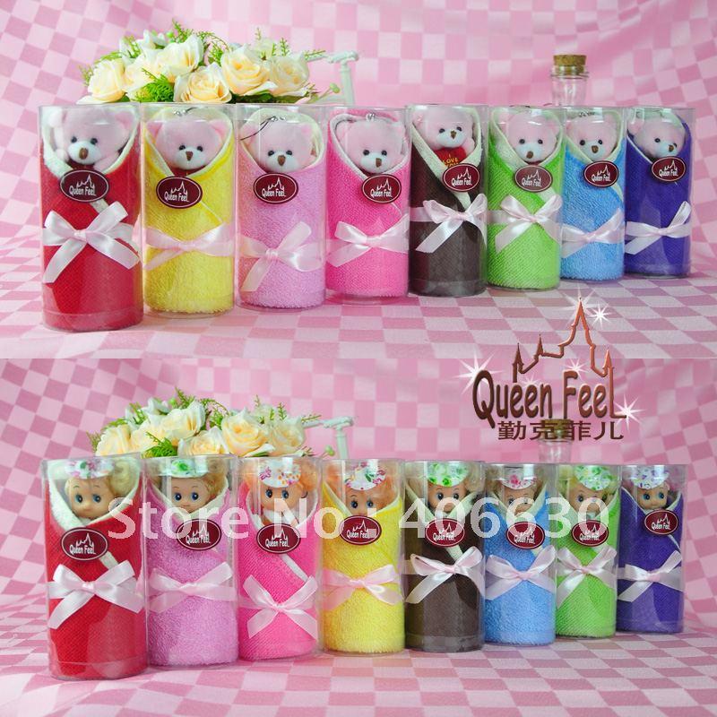 novelty mini cake towel, valentine lovers wedding chiristmas holiday gift towel, 6packs/lot, free shipping by China post(China (Mainland))