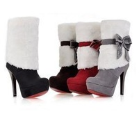 Free shipping ankle boots high heel shoes short winter fashion sexy warm fur buckle women boot pumps P2124 on sale size 34-39